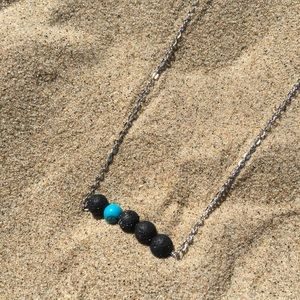 Jewelry - Lava Bead Oil Diffuser Necklace w Turquoise Bead